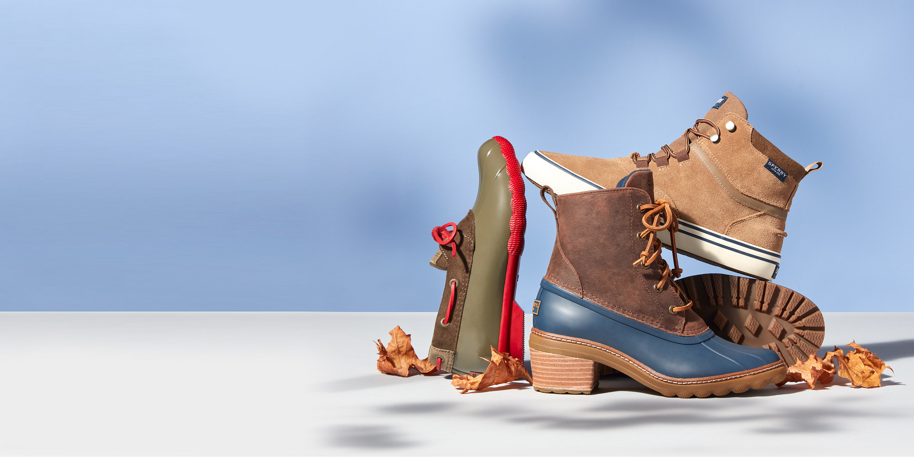 Different styles of Sperry boots.