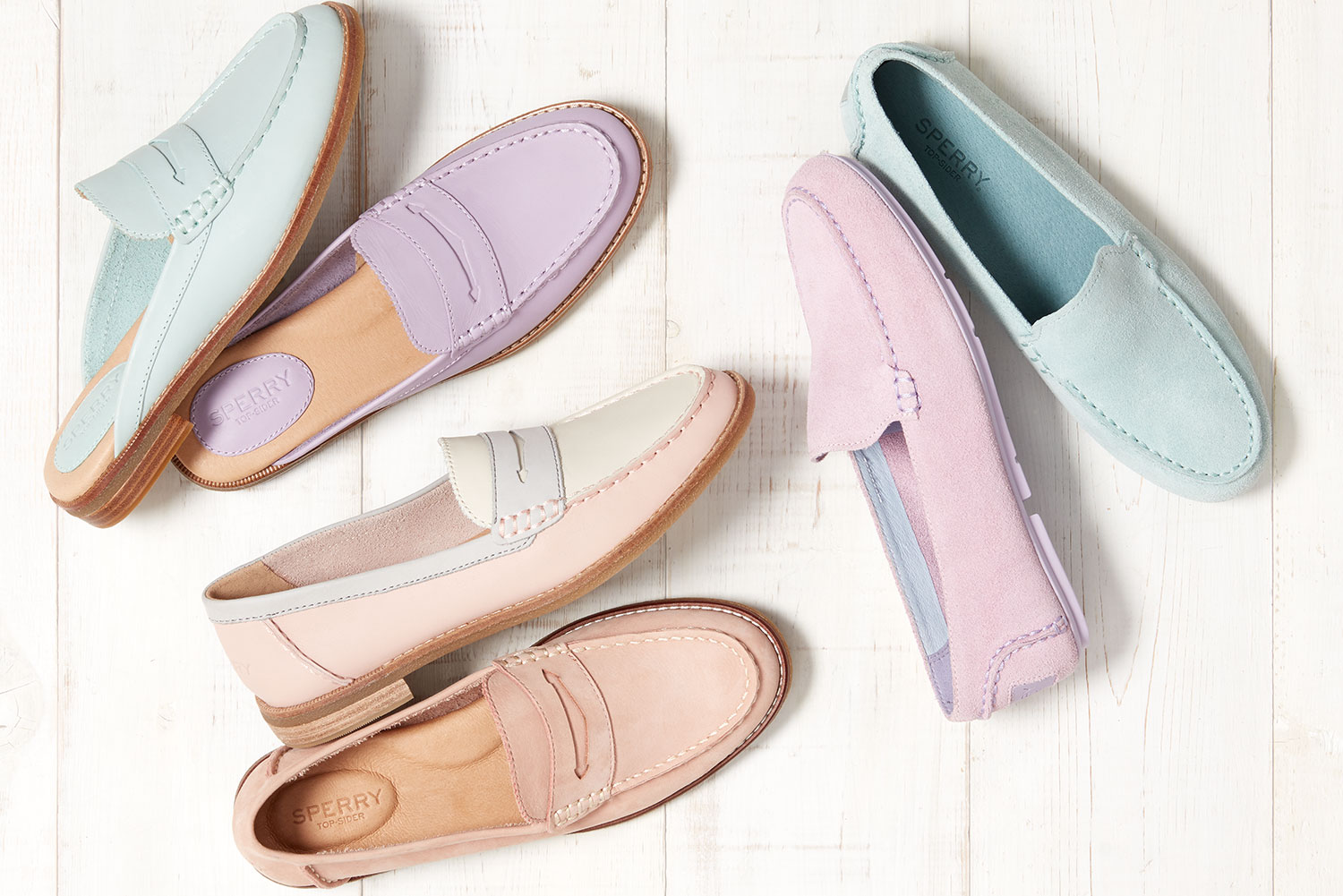 Pastel shoes arranged in a fan-like pattern