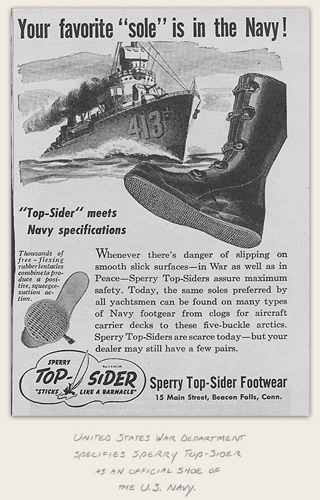 United States War Department specifies Sperry Top-Sider as an official shoe of the US Navy