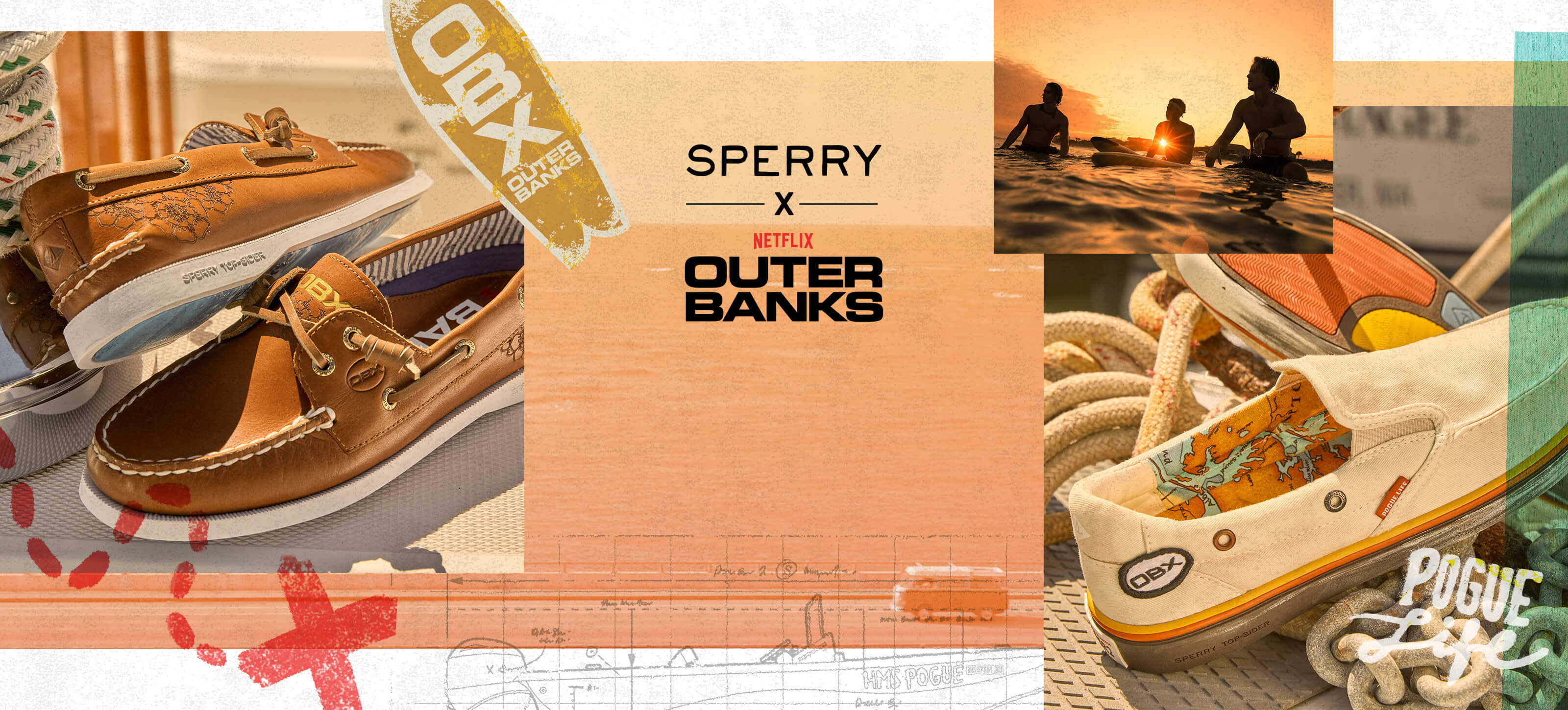 Collage of outer banks images on a map.
