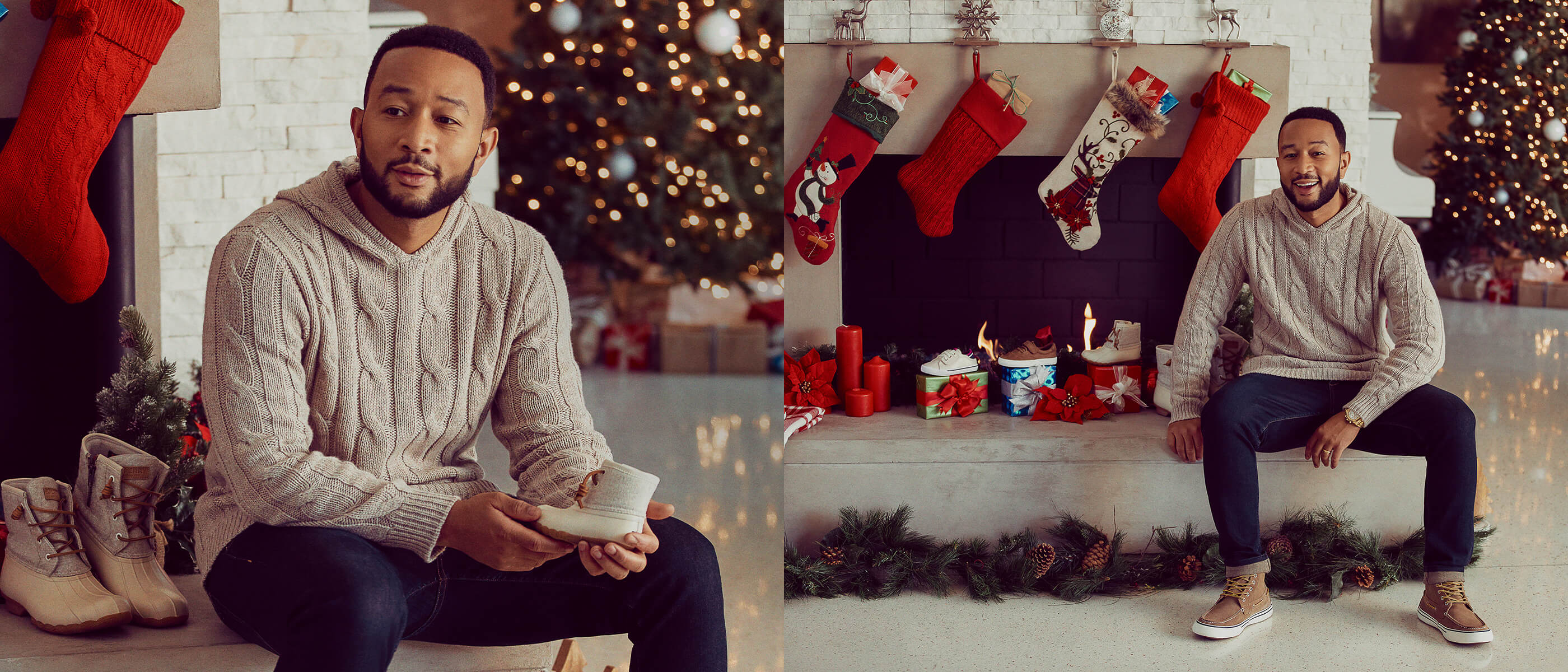 John Legend roasting by an open fire. He seems jolly.