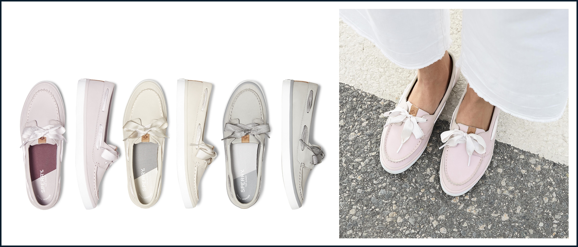 A variety of sailor boat shoes and a closeup of a women wearing a pair
