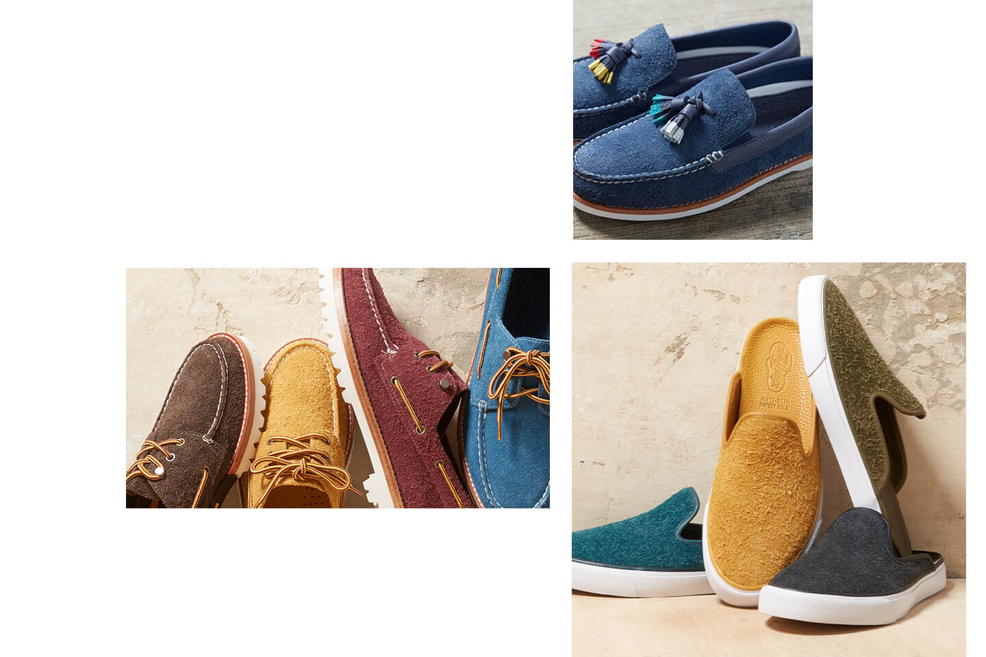 Collage of shoes from the Suede collection.
