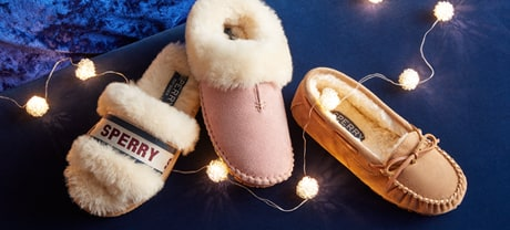 Women's slippers and Christmas lights.
