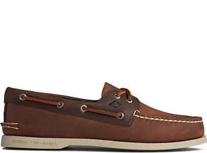 Dark brown boat shoe.