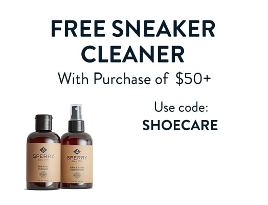 Free sneaker cleaner with puchase of $50+. Use code: SHOECARE.