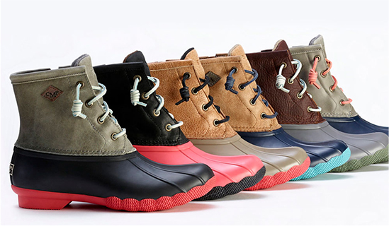 A row of custom Saltwater Duck Boots