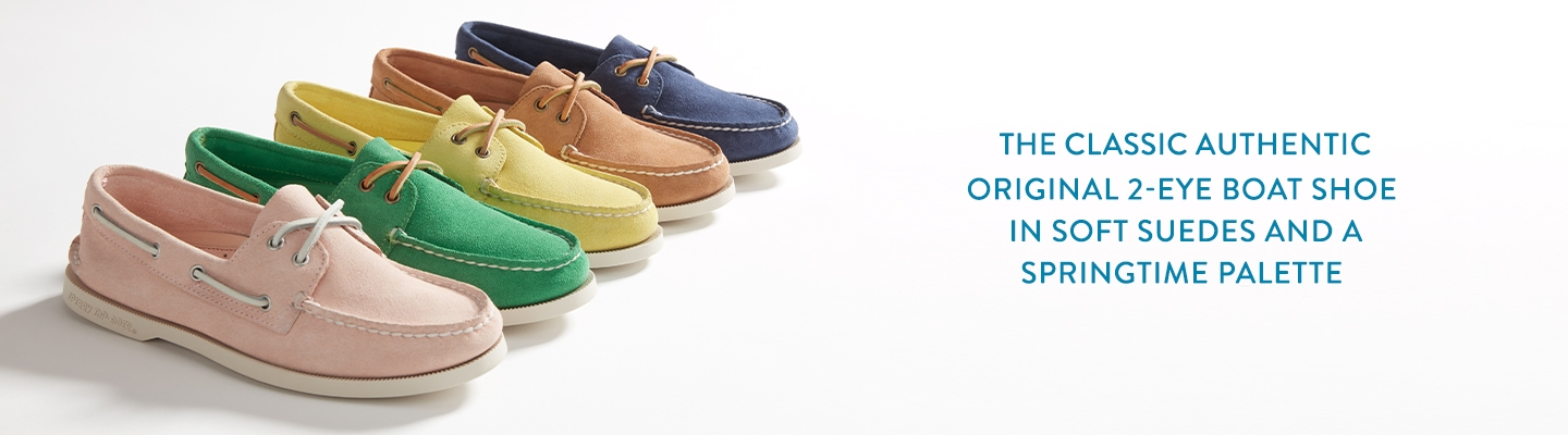 The classic Authentic Original 2-eye boat shoe in soft suedes and a springtime palette.
