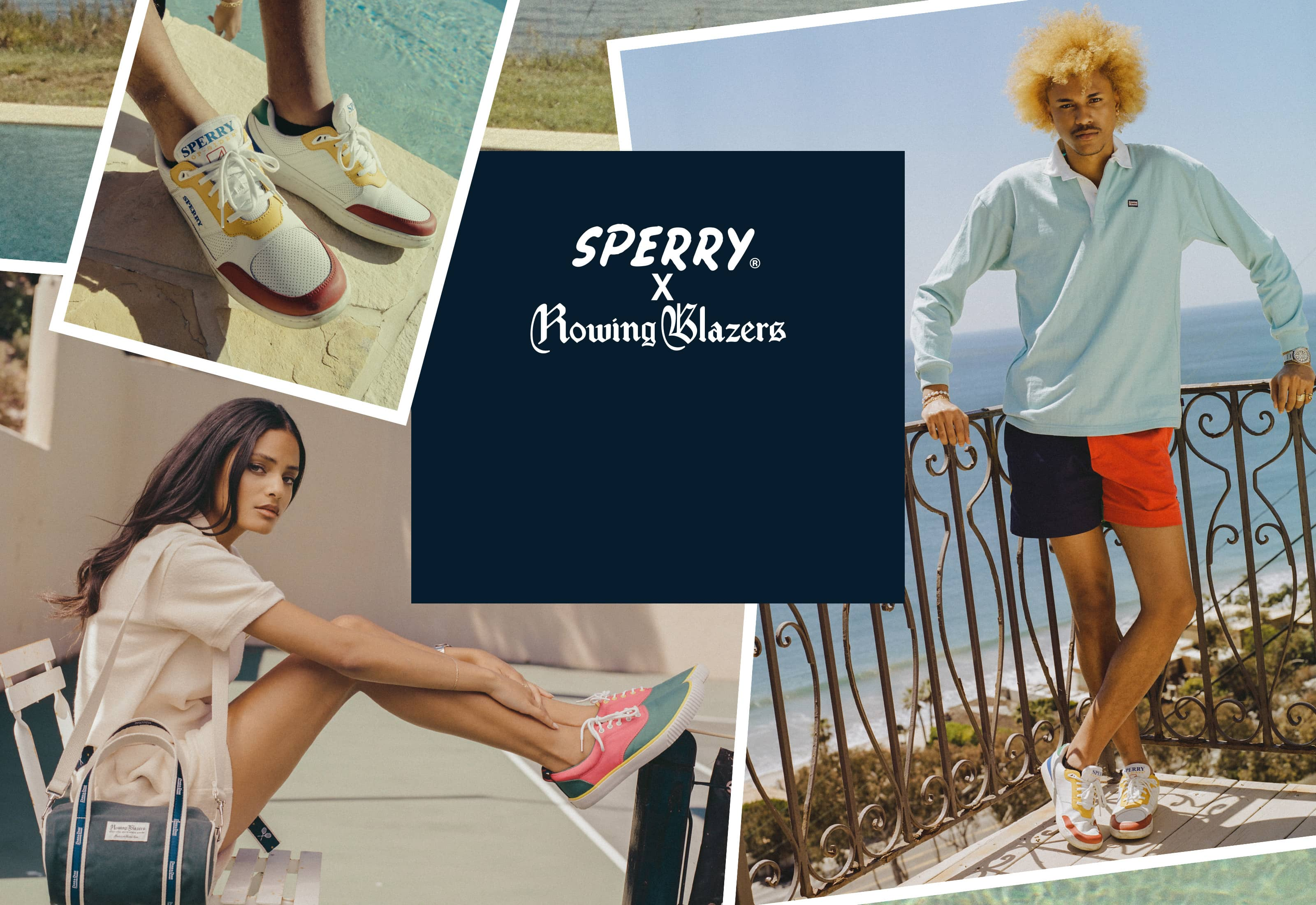 Collage of people wearing Sperry Rowing Blazer shoes.