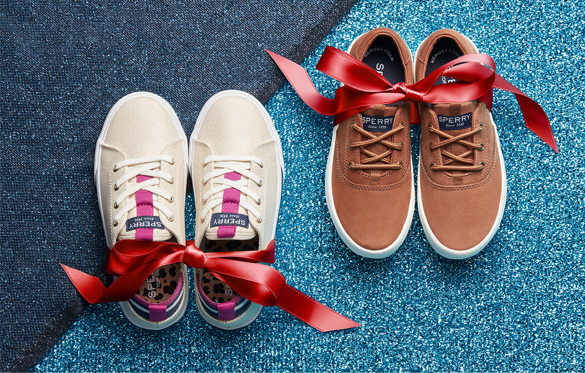Sneakers tied with a bow.