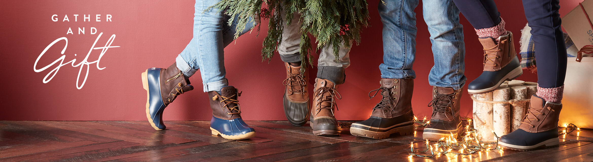 People wearing Duck Boots are comparing festive decorations while standing on a wood floor. I hope they wiped their feet!