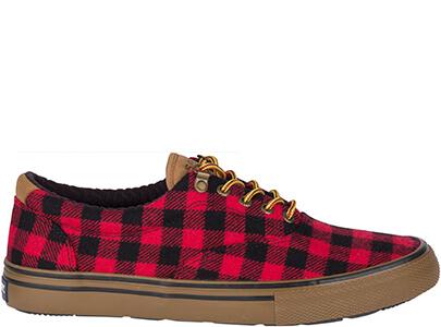 Red & black lumberjack check sneaker.