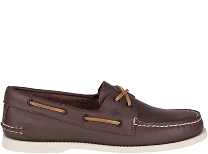 Dark brown boat shoe.