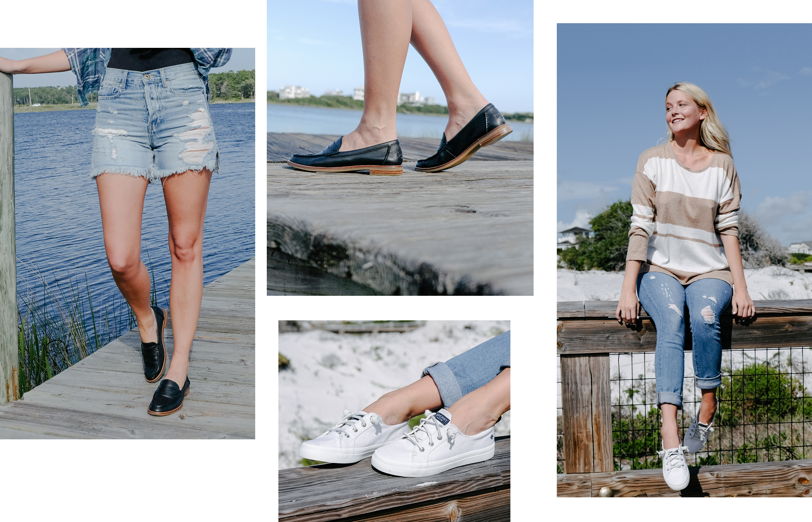 A gallery of Sperry Ambassador Molly Hogan, wearing several Sperry shoe styles.
