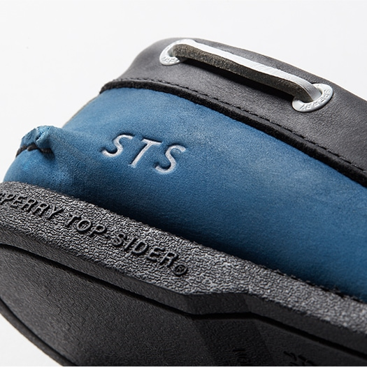 Close up of a monogram on a Custom Sperry Authentic Original