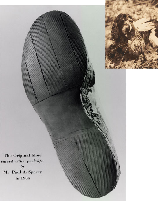 The Original Shoe carved with a penknife by Mr. Paul A. Sperry in 1935.