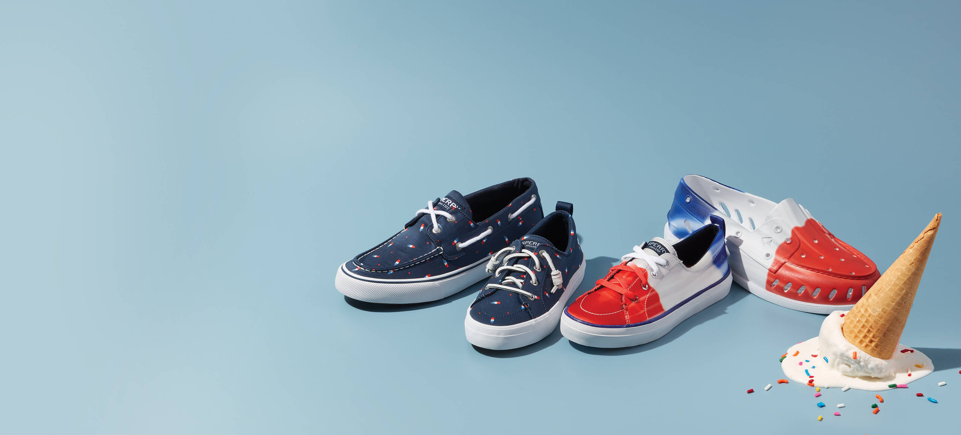 Sperry Floats and Sperry Boat Shoes in two styles based on a Firecracker beside a dropped, upside down ice cream with sprinkles.