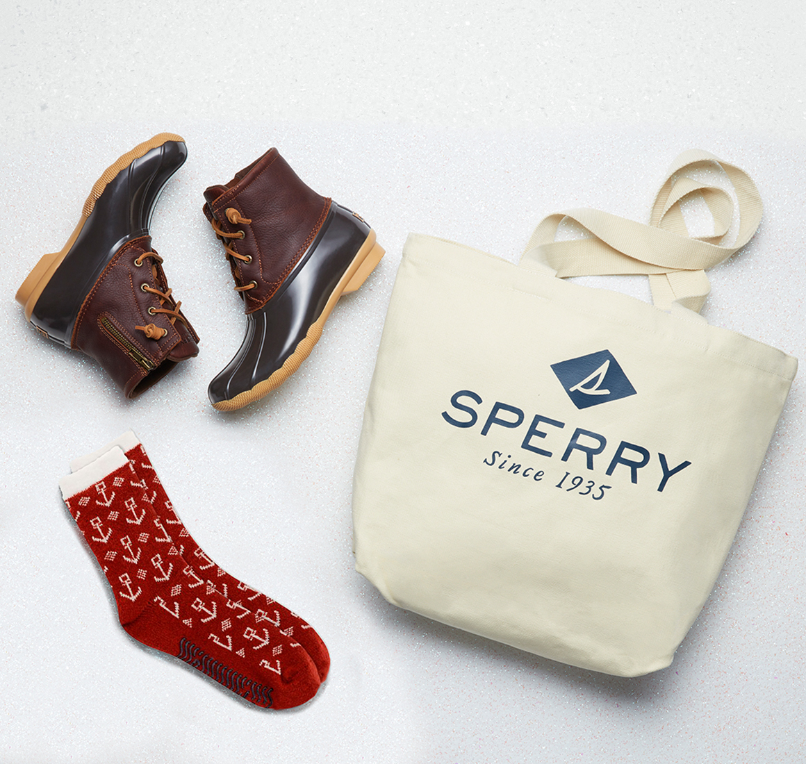 Boots, socks, and tote bag.