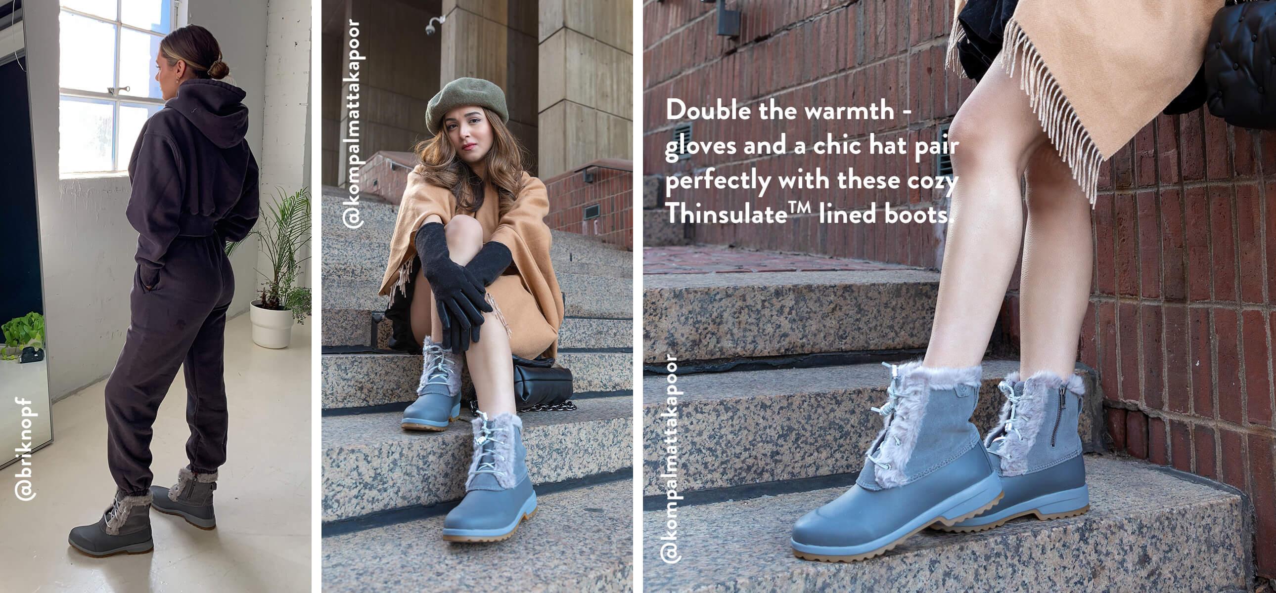 3 girls looking stylish in Sperry boots. @briknopf, @kompalmattakapoor.