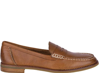 Tan loafer.
