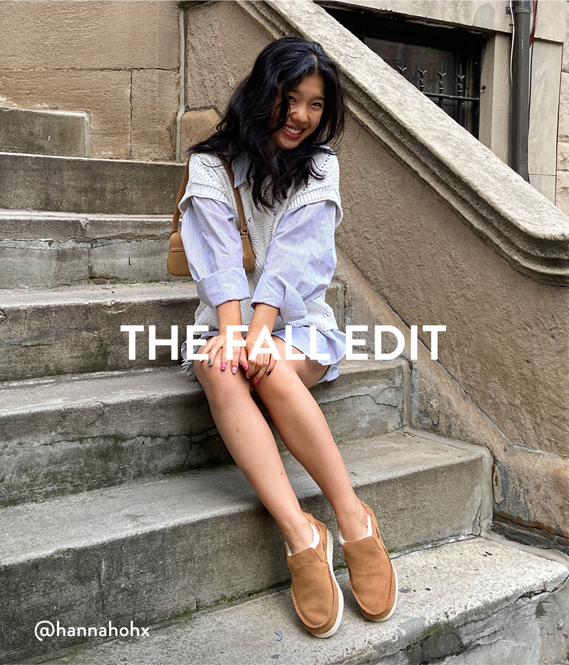 Woman sitting on stairs wearing Sperry Slippers