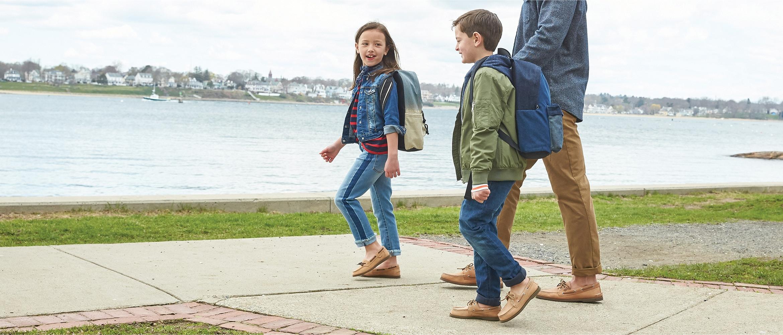 Kids Walking to School wearing Sperry boat shoes