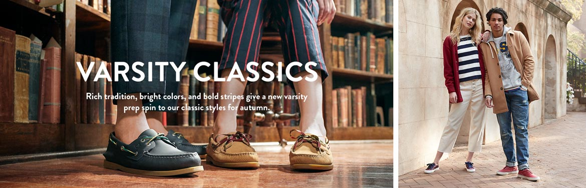 VARSITY CLASSICS   Rich tradition, bright colors, and bold stripes give a new varsity prep spin to our classic styles for autumn.