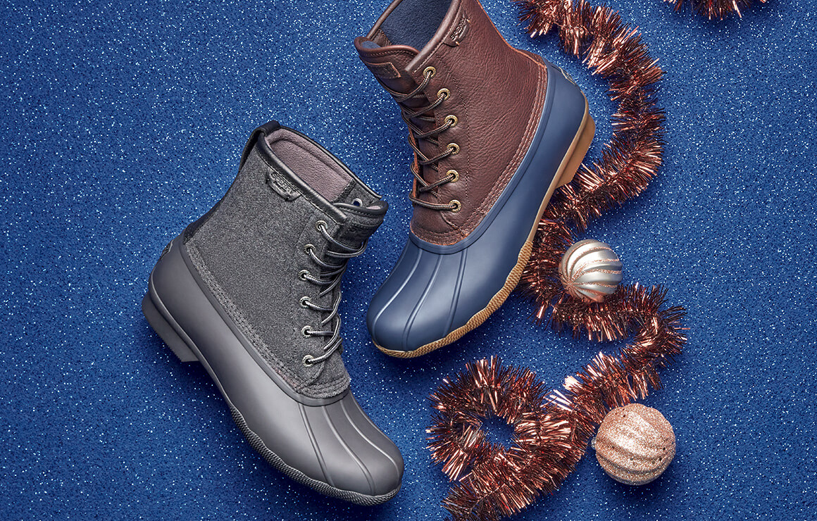 Waterproof boots and tinsel.
