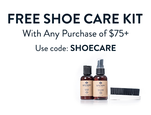FREE SHOE CARE KIT. With Any Purchase of $75+ Use code: SHOECARE.