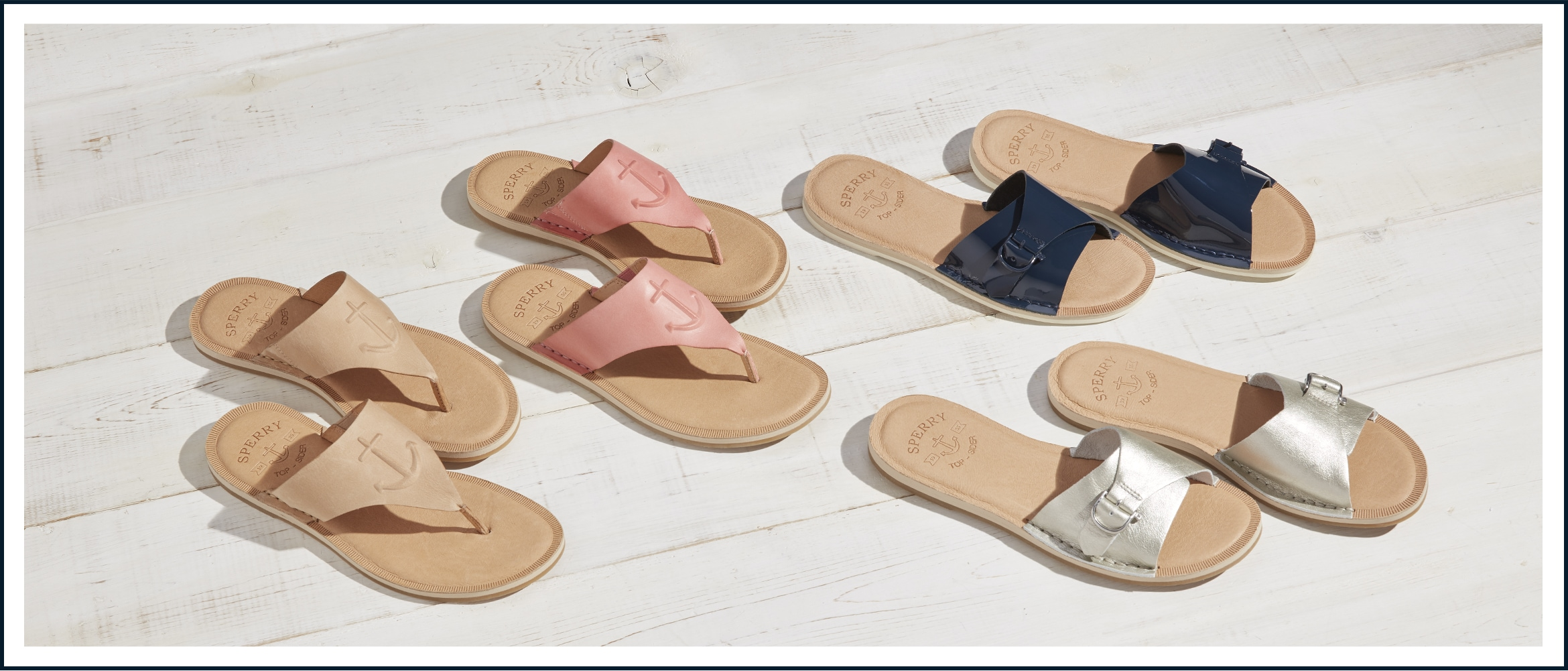 A variety of seaport sandals