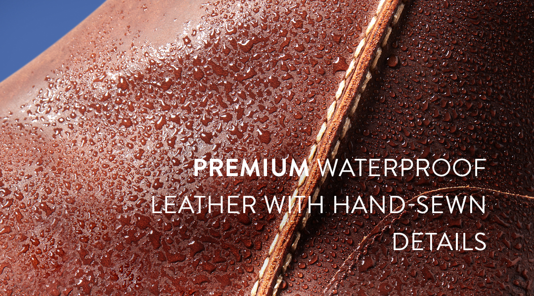 Premium waterproof leather with hand-sewn details.