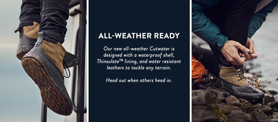 All weather ready.  Our all new all-weather Cutwater is designed with a waterproof shell, thinsulate lining,and water resistant leathers to tackle any terrain.