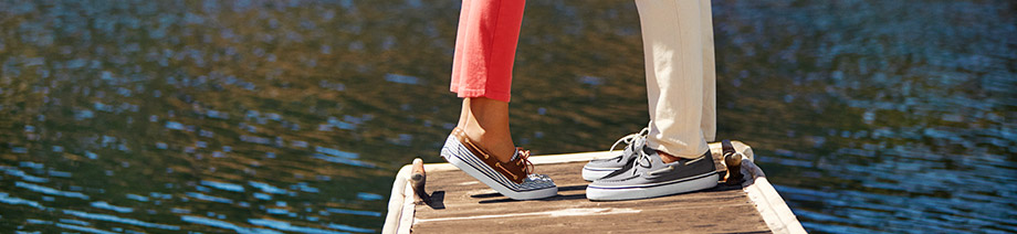 Keep it casual with Bahama men's canvas and leather boat shoes from Sperry Top-Sider.