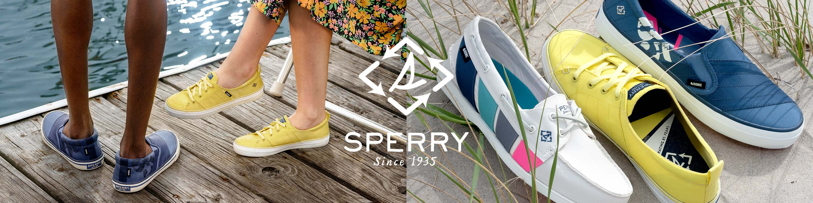 2 people wearing Sperry Bionic shoes on a deck by the beach