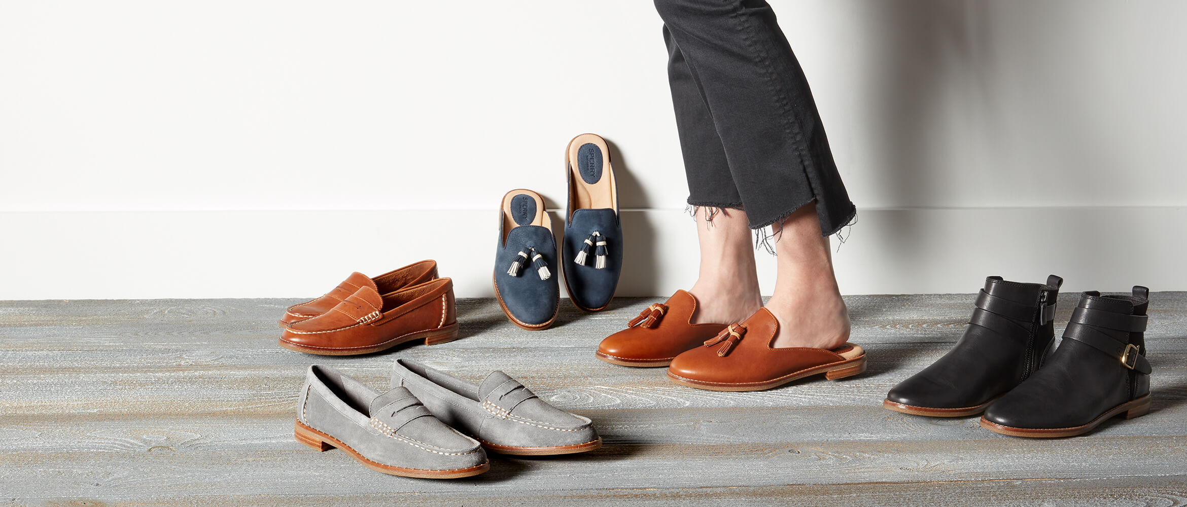 Pairs of shoes and feet.