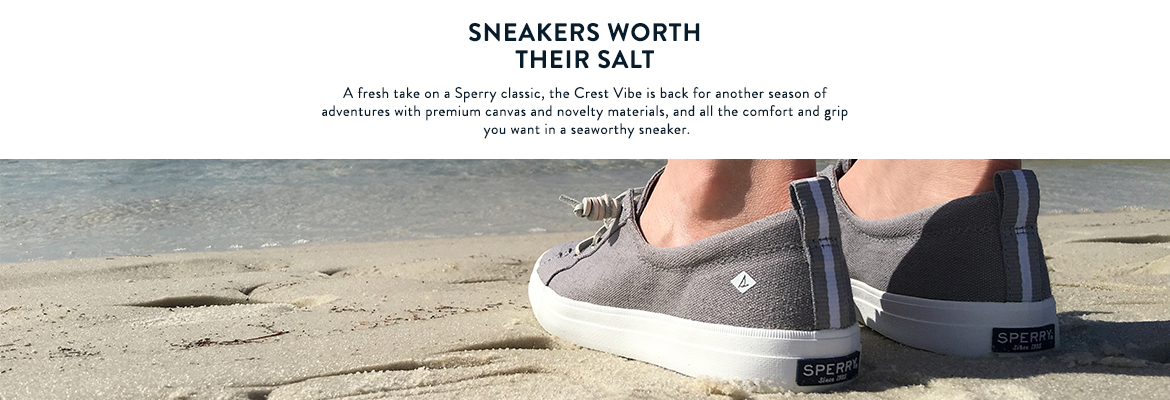 Sneakers worth their salt.  A fresh take on a Sperry classic, the Crest Vibe is back for another season of adventures with premium canvas and novelty materials, and all the comfort and grip you want in a seaworthy sneaker.