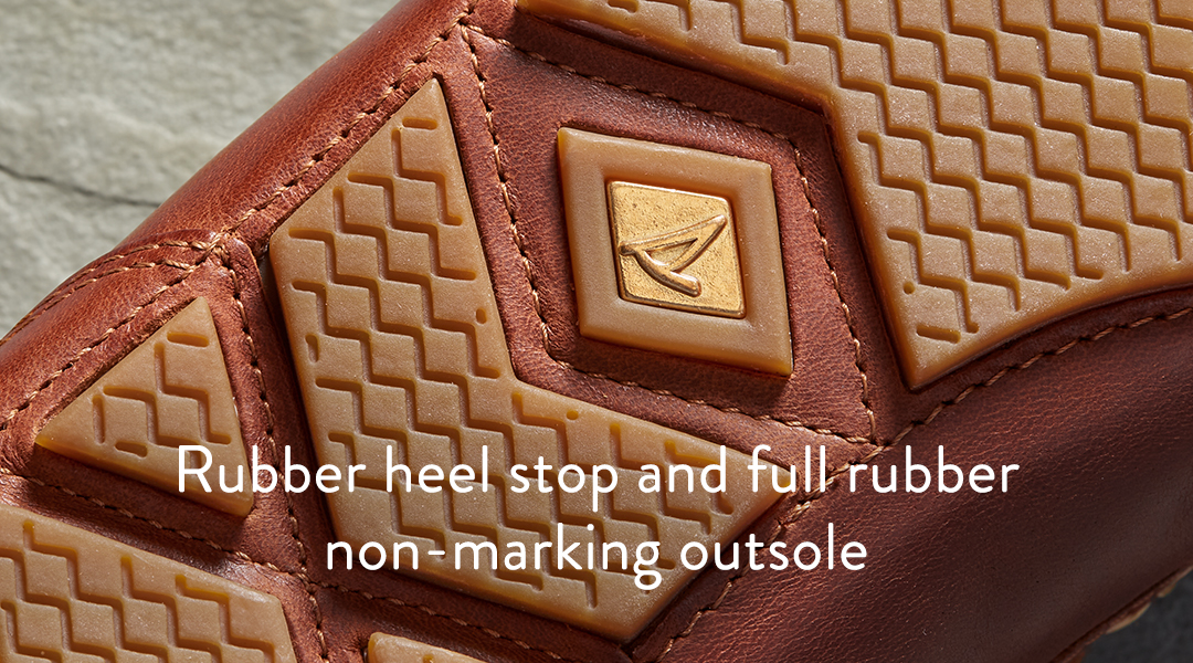 Rubber heel stop and full rubber non-marking outsole.