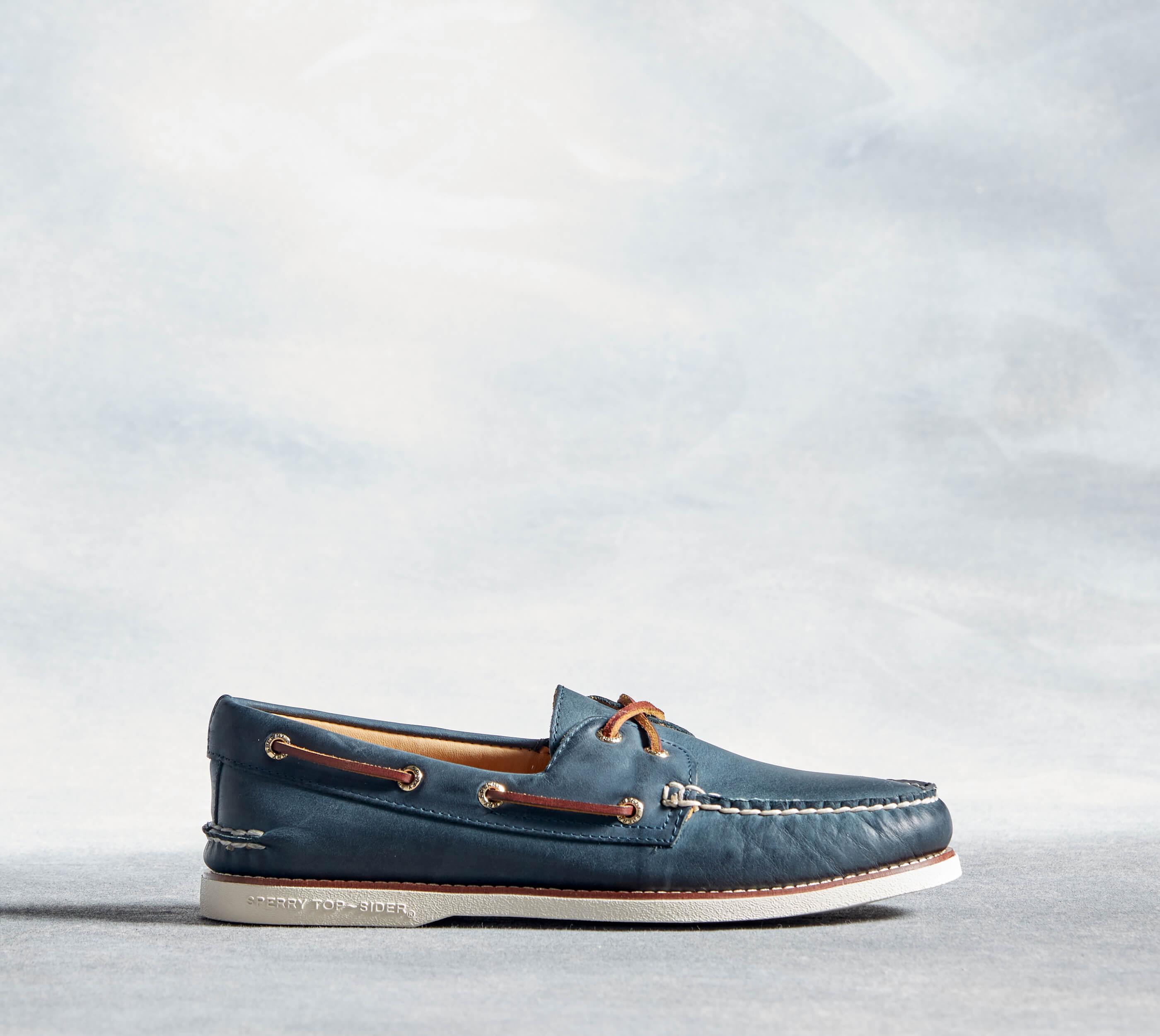 Blue boat shoe.