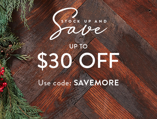 Stock up and save: Spend $150, save $30; Spend $100, save $20; Spend $75, save $15.