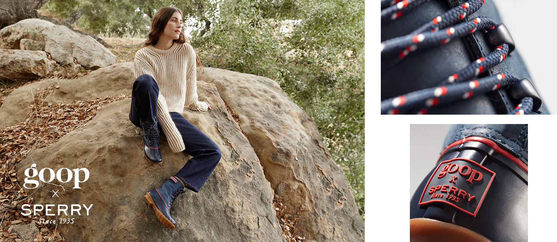 Goop & Sperry collaborative boots in blue worn by a woman in a sweater on a rock in the woods.