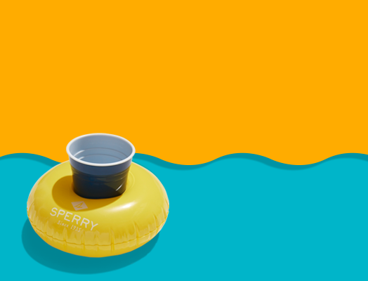 Yellow drink holder over a wavy yellow and blue background.