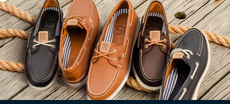 mens Sperry Authentic Original shoes lined up on a dock