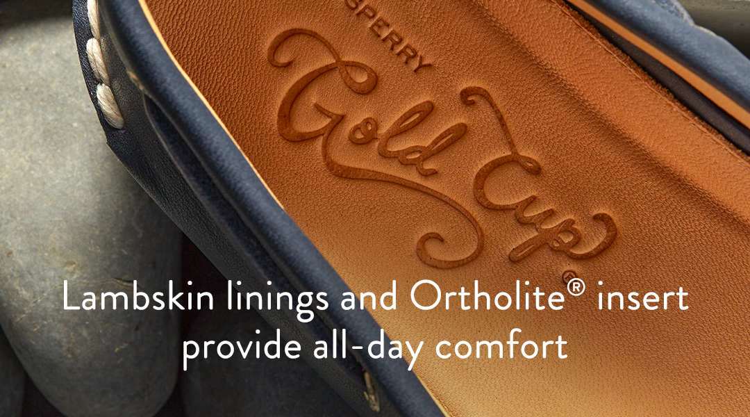 Lambskin linings and ortholite insert provide all-day comfort.