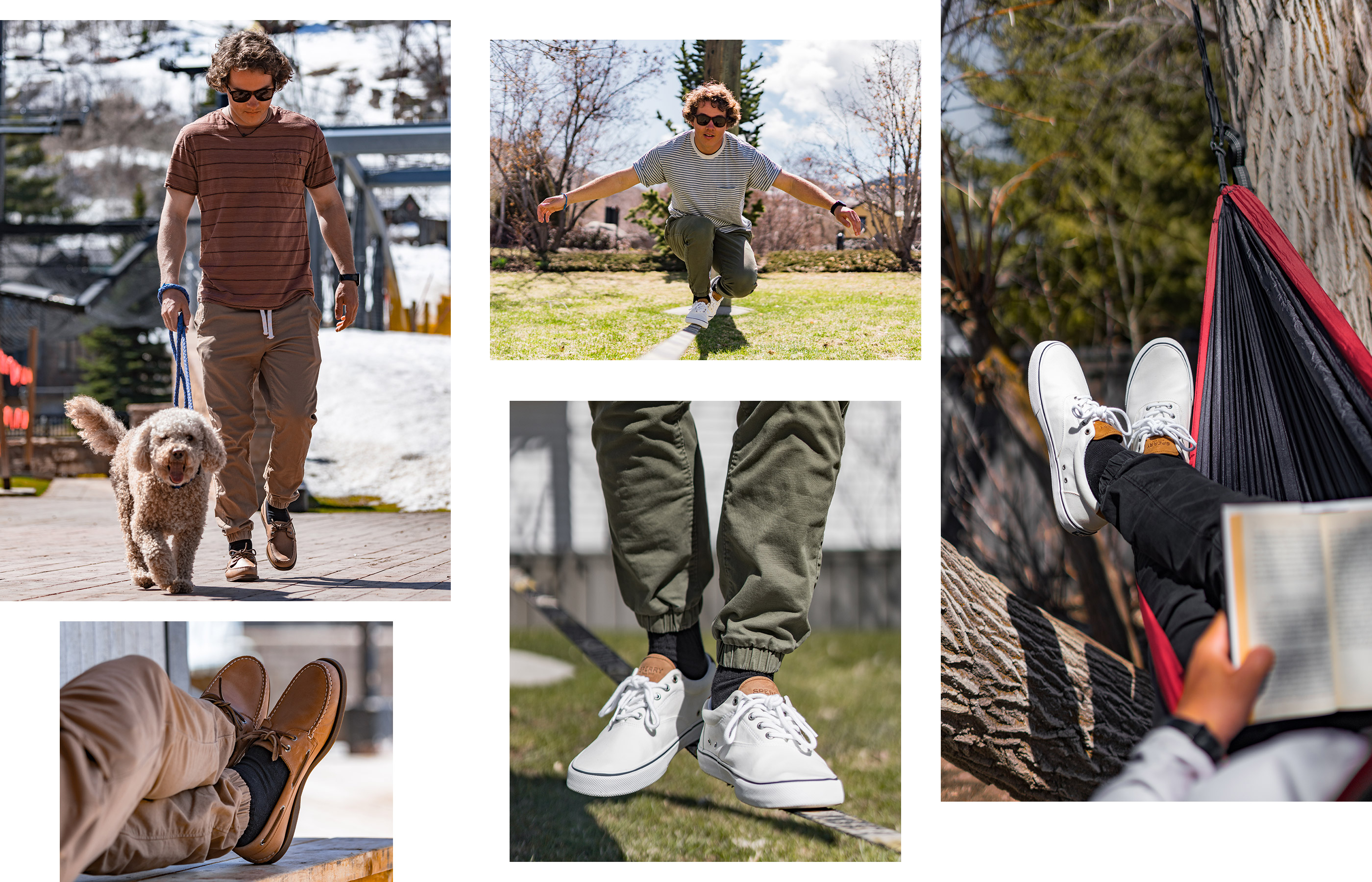 A gallery of Sperry Ambassador Nate Miceli, wearing several Sperry shoe styles.
