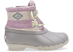 Grey, pink & white striped boot.