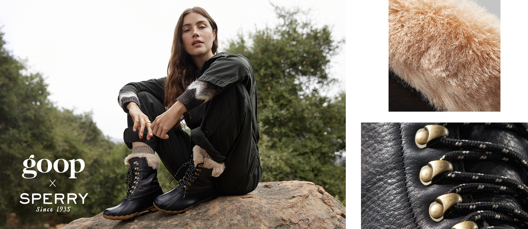 Goop & Sperry collaborative boots in black worn by a woman in a sweater on a rock in the woods.