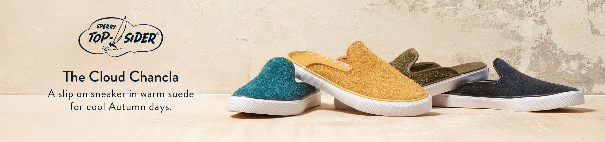 The Sperry Cloud Chancla - A slip on sneaker in warm suede for cool Autumn days.