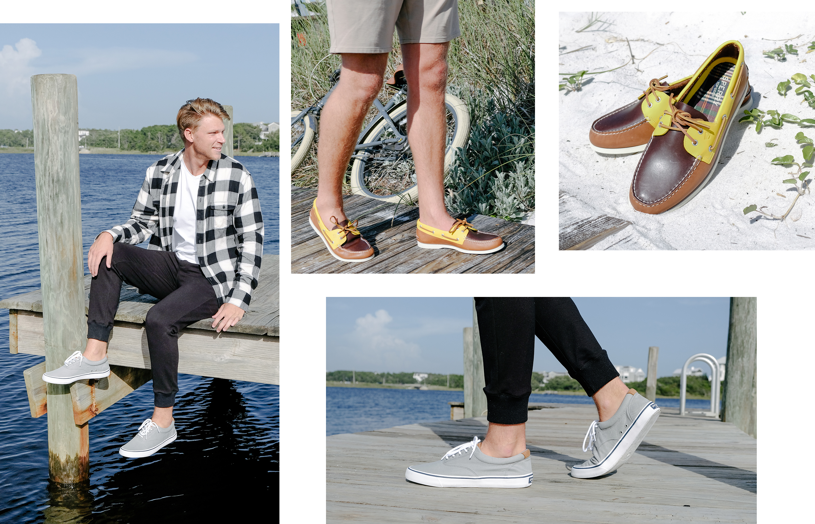 A gallery of Sperry Ambassador Drew Mellon, wearing several Sperry shoe styles.