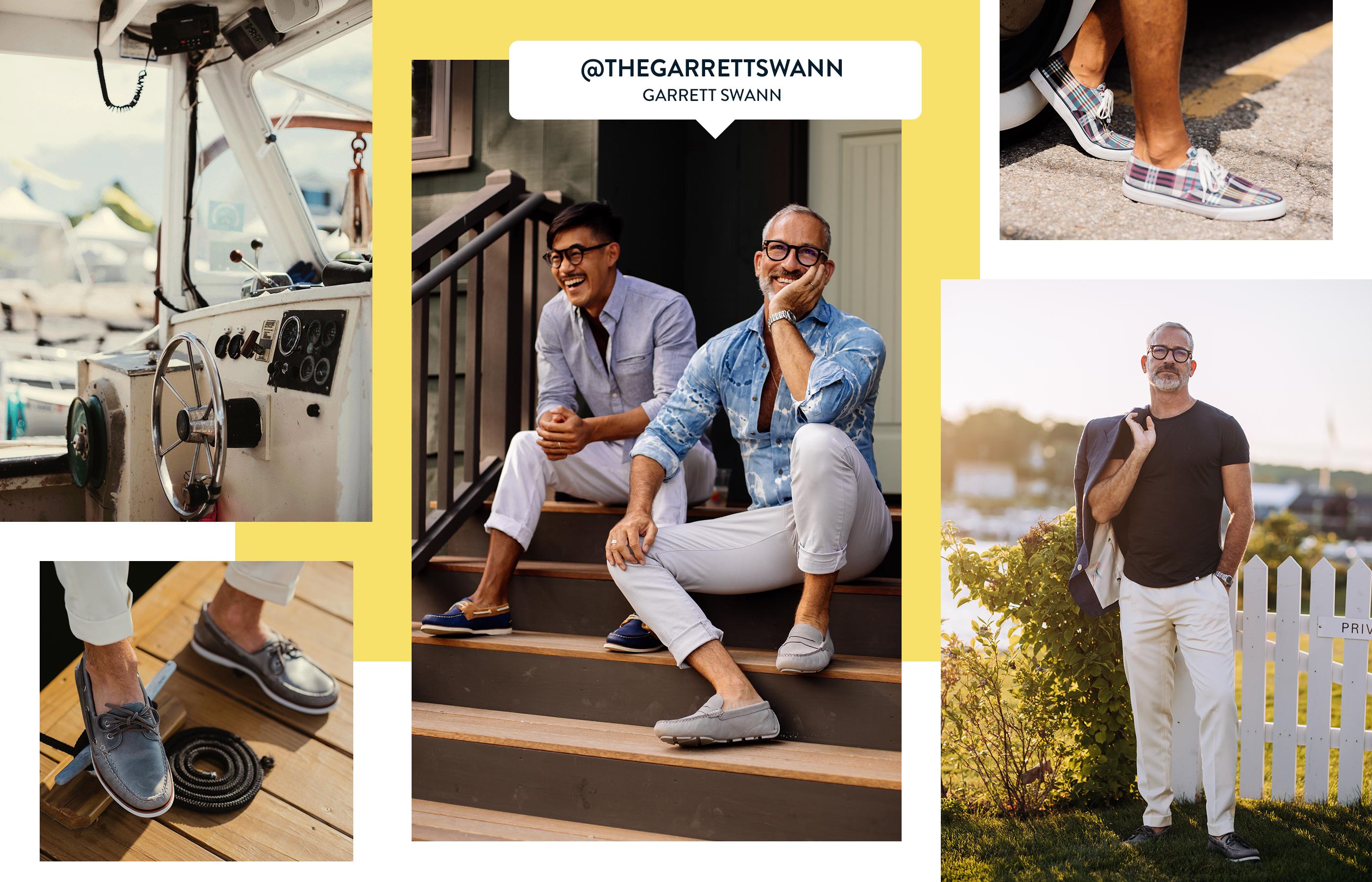 A gallery of Sperry Ambassador Garrett Swann, wearing several Sperry shoe styles.