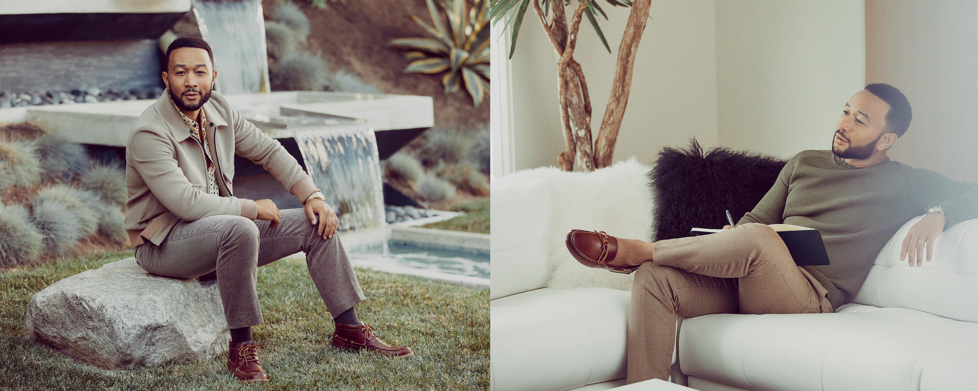 John Legend wearing Sperry Boat sneakers.